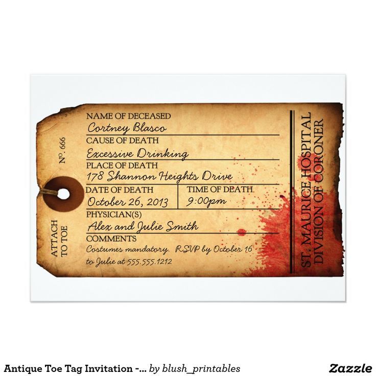 96 best halloween chic invitations images on pinterest halloween antique toe tag invitation morgue halloween stopboris Images