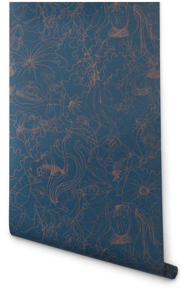 Hygge & West   Underwater World (Deep Blue/Copper): Powder Room, Underwater Blue 1024X1024 Jpg, Inspiration, Pattern, Blue Wallpapers, Dark Blue Wallpaper, Deep Blue Copper, Fabric