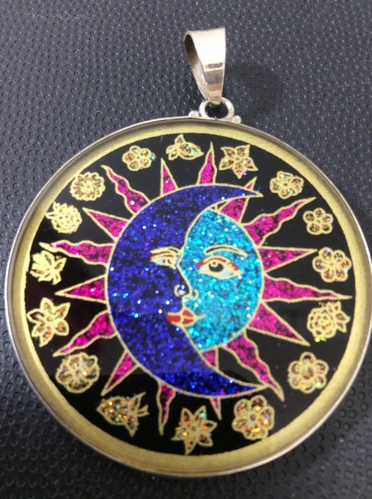 "Sun and Moon Yin Yang Medallion Necklace 1 5 8"" Black ..."