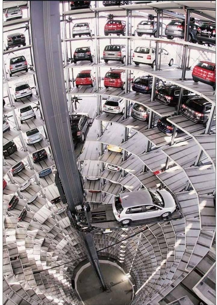 The Volkswagen Polo is loaded in the car towers of the VW Autostadt in Wolfsburg, northern Germany. The Autostadt, situated next to Volkswagen's headquarter, is the company's theme park, and distribution center where daily 5,500 visitors view Volkswagen brands like Bentley, Audi and Lamborghini.