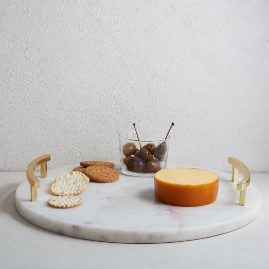 Marble + Brass Round Cheese Board