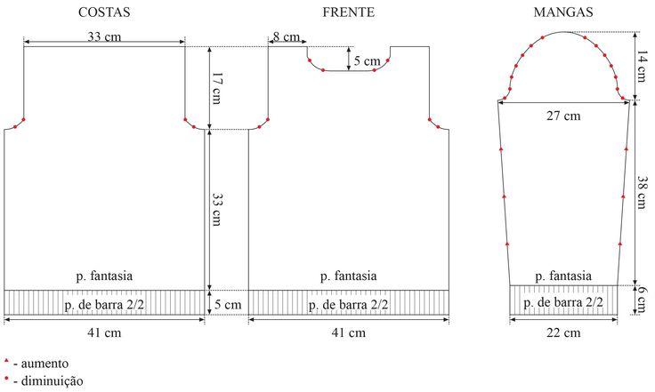 Material: Fio Cisne Dual (nov. 200 g): 2 nov. na cor 00416 (bege/marrom); Agulha para tricô Corrente Milward nº 6 ½; Agulha para costura Tapestry Corrente Milward nº 16.  Tensão do ponto: 10 x 10 cm = 12 p. X 16 carr. (medidos sobre o p. m.). Abreviaturas e pontos empregados: p. –