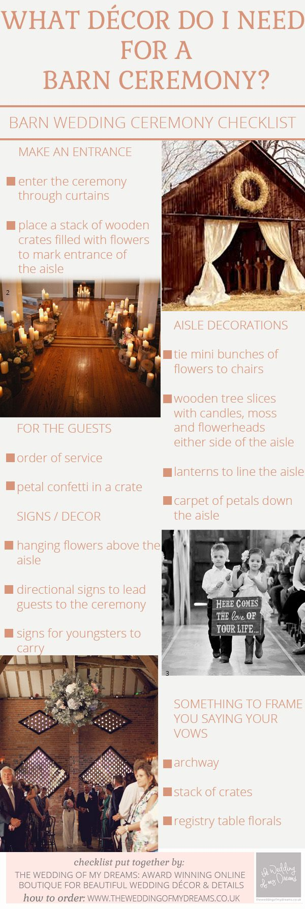 What Decorations Do I Need For A Barn Wedding Ceremony – Checklist / http://www.deerpearlflowers.com/rustic-beach-outdoor-wedding-checklist/