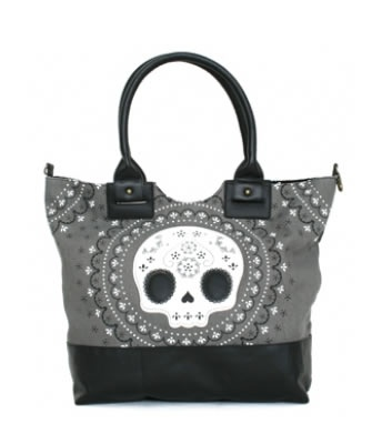WHITE LACE SUGAR SKULL TOTE | hart Cool Gifts