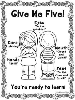 Whole Body Listening Give Me Five Posters, Classroom