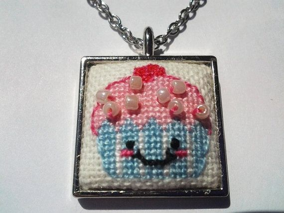 Cute cupcake cross stitch necklace by CabbageStitches on Etsy