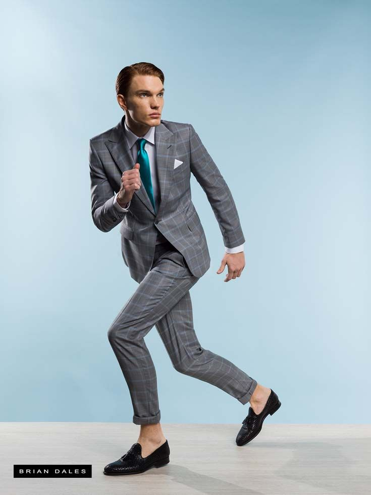 #BRIANDALES #MAN #COLLECTION #SS2016, single-breasted suit with tight pants and tie in contrast.