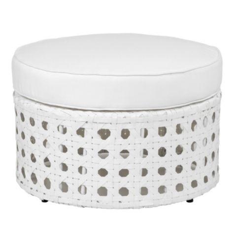 Portofino Outdoor Round Ottoman   White From Z Gallerie