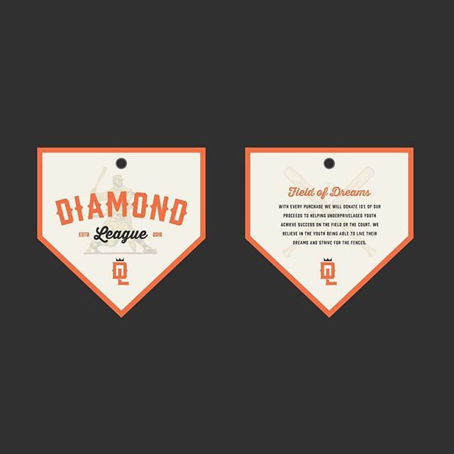 WEBSTA @ live_design_co - Hang tag for a personal project, Diamond League, that will help under privileged kids get funding to play in youth sports leagues. For every shirt or hat sold we will donate 10% to the cause.--------------------------------#tshirt #baseball #logo #design #committee #logoplace #outdoors #graphicdesign #logo #slowroastedco #graphicroozane #live_design_co #typetopia #illustration #diamondleague #typography #thedesigntip #art #creative #typedaily #gfxmob #drawing…