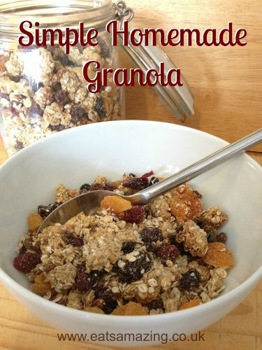 Eats Amazing UK - Simple Granola recipe with free printable recipe sheet for kids - Free from refined sugar, dairy free and nut free