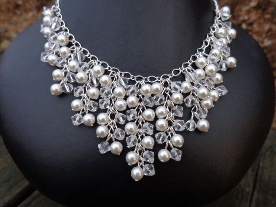 Marie Necklace: Swarovski Pearls and Crystals Bib Style