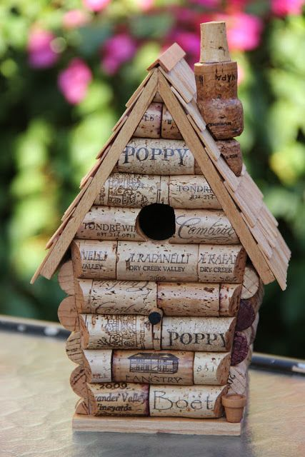 how to make a wine cork Fairy/ birdhouse