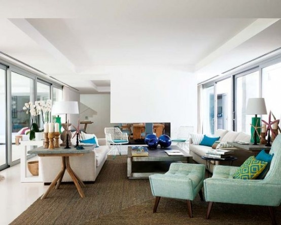 Salon en azul verdoso, y beiges