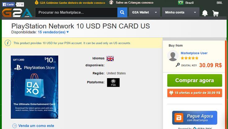 [G2A] PSN card US 10USD 30.09 reais