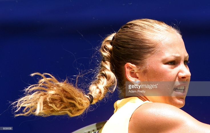 Anna Kournikova of Russia in action against Barbara Rittner of Germany, in the fourth round of the Australian Open Tennis Championships, played at Melbourne Park in Melbourne, Australia. Kournikova defeated Rittner 6-3, 6-1. DIGITAL IMAGE.Mandatory Credit: Adam Pretty/ALLSPORT