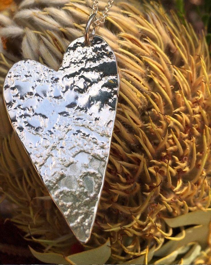 Large Heart Pendant by SilverByKat on Etsy