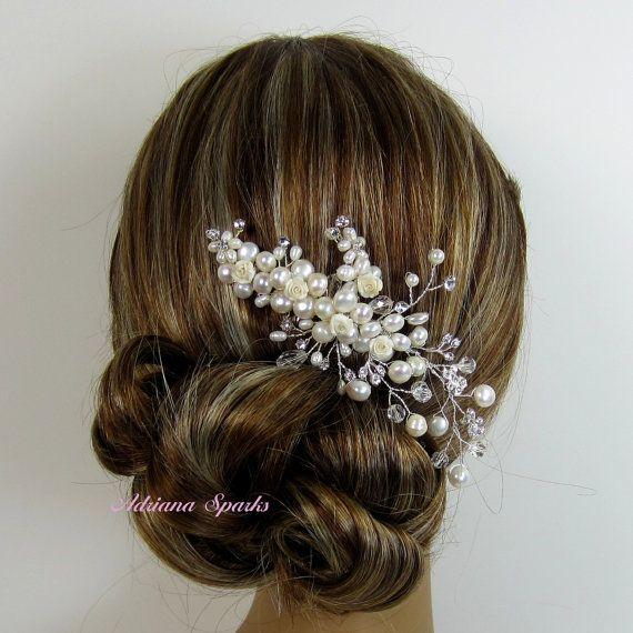 Pearl Bridal Hair Comb, Bridal hairpiece, Wedding hair accessories, Bridal Headpieces, Rhinestone hair comb bridal on Etsy, $39.00