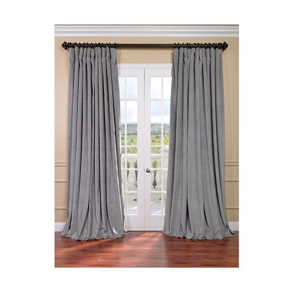 Half Price Drapes Signature Silver Grey Double Wide Velvet Blackout... ($122) ❤ liked on Polyvore featuring home, home decor, window treatments, curtains, grey window curtains, silver blackout curtains, grey curtains, thermal blackout curtains and gray blackout curtains