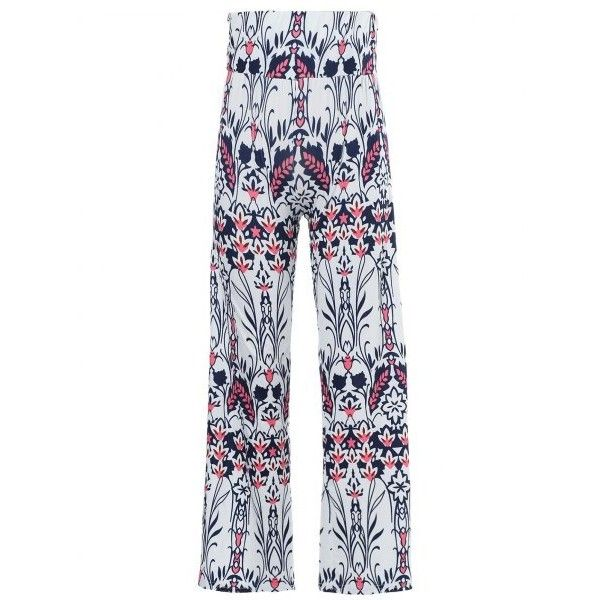Fashionable Mid-Waisted Loose-Fitting Floral Print Women's Exumas... (130 MAD) ❤ liked on Polyvore featuring pants, loose fit trousers, loose fitted pants, floral print trousers, loose fitting pants and floral trousers