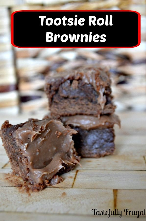 Tootsie Roll Brownies: Fudgey brownies topped with a creamy tootsie roll frosting. Perfect for that leftover Halloween candy!