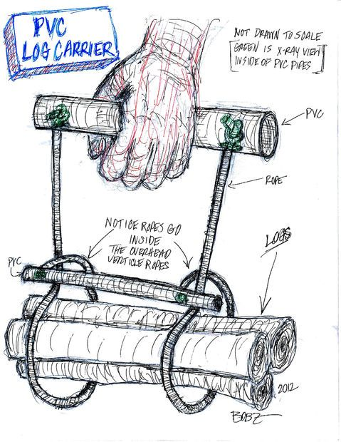 How to carry firewood and logs -- BTW you don't need pvc -- a couple of sturdy branches and cord or rope should work just fine.  Make a Wood Carrier that's a Cinch