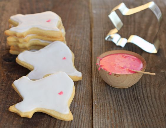 1 Dozen Cut-Out Sugar Cookies : www.DessertForTwo.com   Ingredients ¾ cup flour, plus extra for rolling ½ teaspoon baking powder pinch of sa...