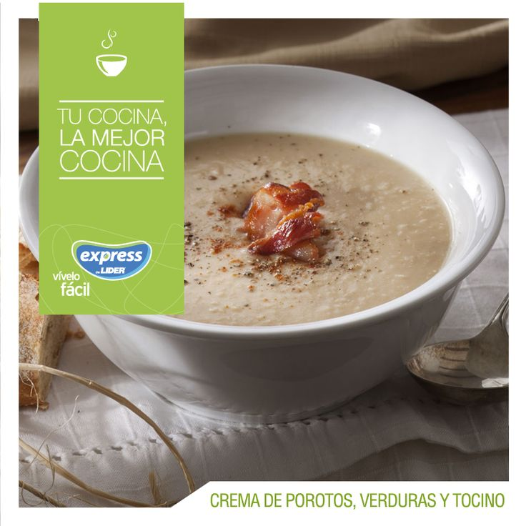 Crema de porotos, verduras y tocino #RecetarioExpress #Receta #Food #Foodporn #Porotos #Verduras #Tocino