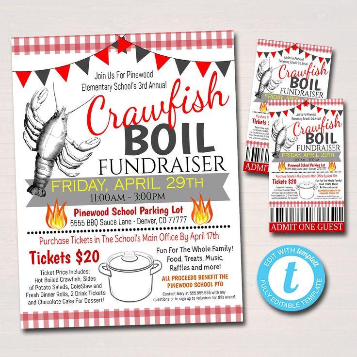 Editable Crawfish Boil Fundraiser Flyer Ticket Poster Set