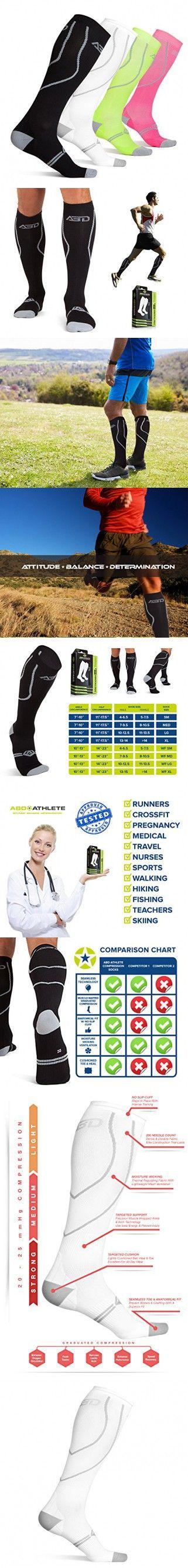 ABD ATHLETE Compression Socks, 20-25 mmHg, Medium - White
