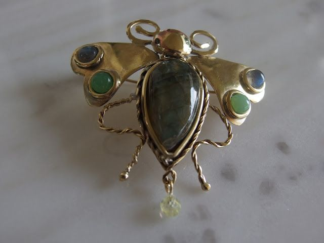 Ancient Greek brooch, 'bee' brass labradorite and green opal.