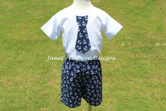 White Anchors Shorts and Tshirt Set with by JanetsFashionDesigns, $24.50
