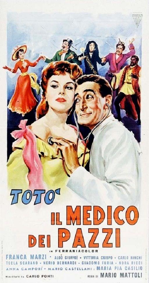 """Mario Mattoli's comedy """"Il medico dei pazzi"""" (Italian title: """"The Doctor of the Mad"""", 1954), starring Totò (Antonio De Curtis) and Franca Marzi."""