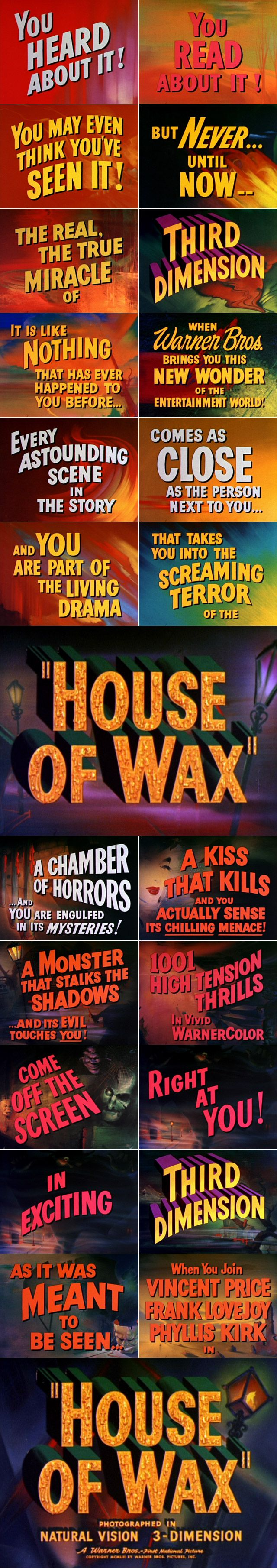 House of Wax (1953) trailer typography – the Movie title stills collection     ✇ 'HOUSE OF WAX' (1953), directed by André De Toth, starring Vincent Price, Frank Lovejoy, Phyllis Kirk, Charles Bronson