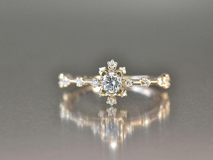 Scalloped Frame Brilliant Cut Diamond Ring by Kataoka, at Ylang 23