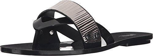 Melissa Women's Cream Flip Flop in Black (8) >>> You can get additional details at the image link.