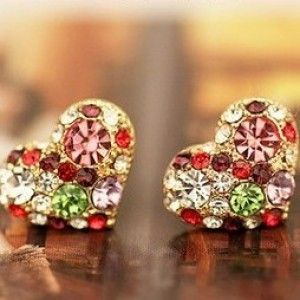 Colorful Heart Love Shape Stud Earring
