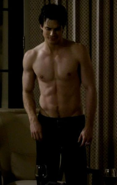 Damon Salvatore. Topless. Come on have a bit of a stare you