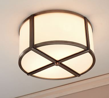 Lovely Finish The Look With Preppy Style. This Light Fixture Features A Simple  Round Design In Milky White Glass With Bands Of Metal Trim.