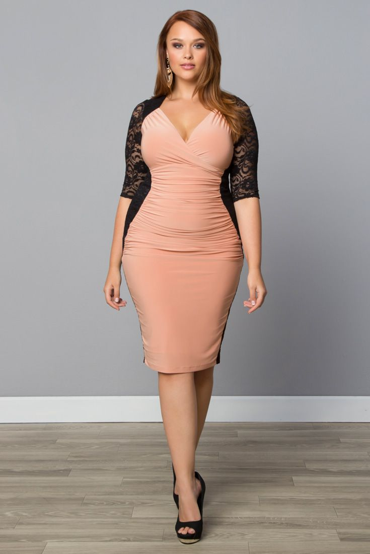 Accentuate your curves with our plus size Valentina Illusion Dress. Shop the entire made in the USA collection online at www.kiyonna.com.