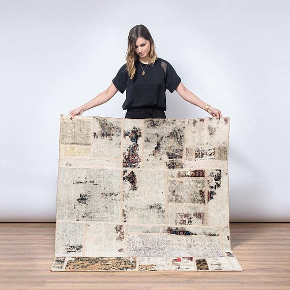 This is Harlow. Shes a handmade Patchwork rug.  Patchwork rugs are made from a compilation of older rug pieces that have been cut and stitched together by hand with a sewn on fabric backside, that provides additional support. Add some tradition in a modern way to your home. Size: 180 x 132cm Material: Cotton/ Wool