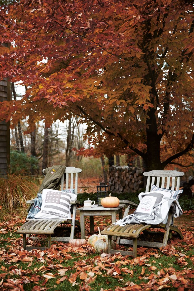 The classic New England Style in a beautiful fall nature! See more shams and throws from Lexington Company in the link.