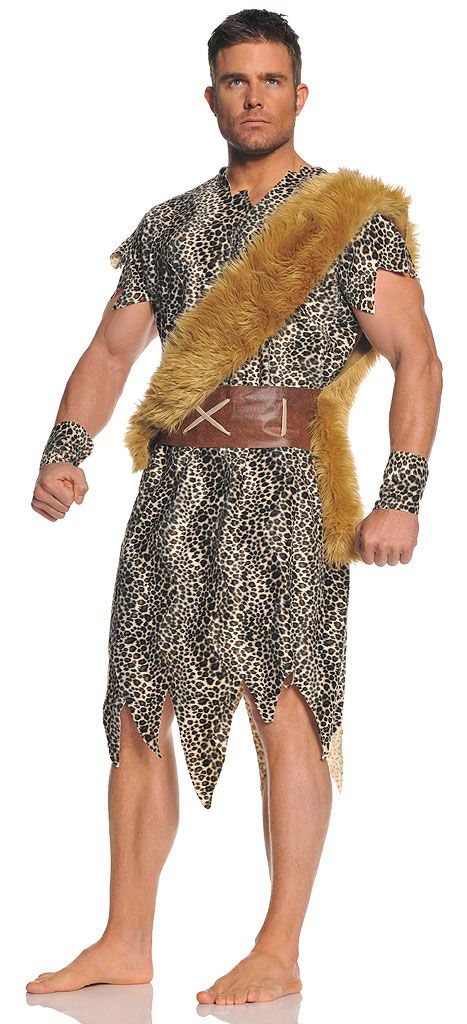 Get in with Stone Age fashion using our men's Cave Dweller Caveman Adult Costume. The prehistoric man never looked so masculine! Our men's Cave Dweller Caveman Costume includes a leopard print tunic with jagged cut hem, chestnut faux fur sash, brown belt with stitching accents and matching leopard print wrist cuffs. Hunting for a woman won't be necessary with the manly Cave Dweller Caveman Costume. Pair with a cavewoman costume for a great historic couple's theme.