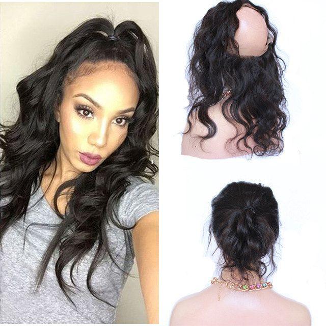 2016 Popular 7a 360 Lace Band Frontal Human Hair Closure