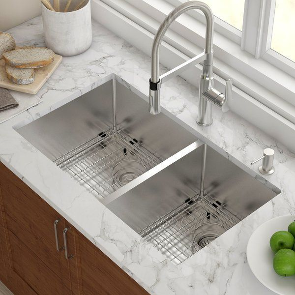 Standart Pro 33 L X 19 W Double Basin Undermount Kitchen Sink