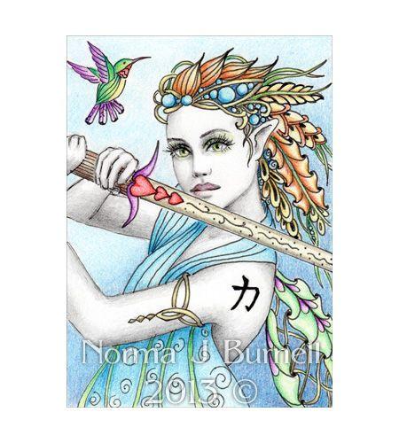 ACEO PRINT Fantasy Art Card - Norma J Burnell Warrior Elf