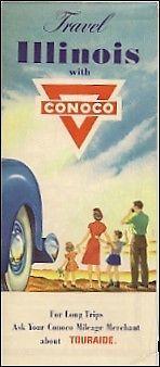 1953 CONOCO OIL Gas Station Locator Road Map ILLINOIS Route 66 Peoria Rockford