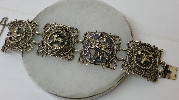 Vintage Armschmuck - Armband Tracht Heiliger Georg Silber 925 BAS SA200 - ein…