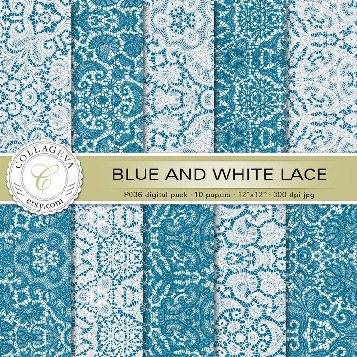 "Blue & White Lace Digital Pack 10 Printable Scrapbook Paper 12x12"" Crochet, Romantic Shabby Chic Wedding, Baby Boy Nursery Wall art (P036) by collageva on Etsy"