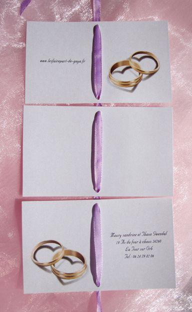 Le faire-part de mariage dépliant rectangle sur le thème des alliances amour romantique ( choix du texte, choix de la police,choix de la couleur du ruban...)        Possibilité de réaliser gratuitement 2 maquettes, une pour les invités au vin d'honneur, une autre pour les invités au vin d'honneur et au repas   Les étiquettes à dragées sont offertes pour toute commande de faire part  http://www.lemondedegaya.fr/site/format_dep_rect.php