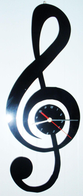 OROLOGIO in plexiglass nero a forma di chiave di violino di laserclock su Etsy